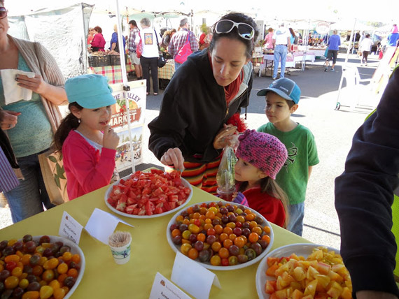 Children sample tomatoes at the fair