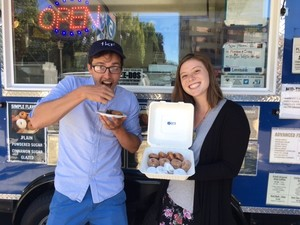 Phil and Abbie w donuts